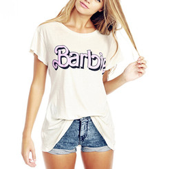 Wholesale Old Women Shirt - Wholesale- t shirt women summer Barbie sweet College wind kawaii loose short sleeve cute style do the old alphabet flash back printing