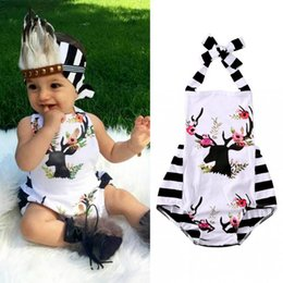 Wholesale Xmas Pajamas - ins xmas girls Newborn Infant Floral Deer Romper Roupas Jumpsuit Toddlers boutique clothing Outfits Ruffled Pajamas Handmade Bodysuit