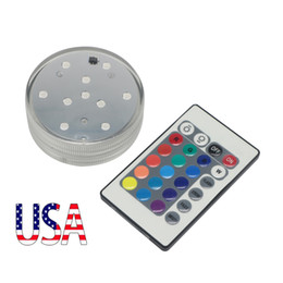 Wholesale Tea Light Remotes - USA Stock Multi Color Changing Remote Control Floral Waterproof Submersible Led Tea Table Party Lights for Halloween Christmas