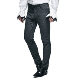 Wholesale Victorian Punk - Wholesale- Steampunk Mens Winter Victorian Pants 2016 Gothic Punk Black Long Pants New Arrivals Man Fitted Straight Trousers With Zipper