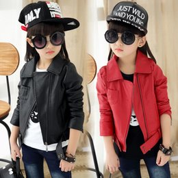 Wholesale Cool Clothing For Kids - fashion cool girls jacket coat leather solid zipper coat jacket for 3-12yrs girls gift for kids children windproof clothes hot sale