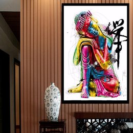 Wholesale Raining Wall Painting - Buddha Full Drill DIY Diamond Painting Embroidery 5D The Rain Cross Stitch Crystal Home Bedroom Wall Decoration Decor Craft Gift