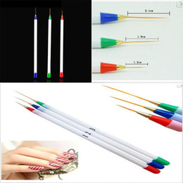 pinceau à rayures Promotion 3pcs Nail Art Design DIY Acrylique Dessin Peinture Striping UV Gel Pen Brush Set # R498