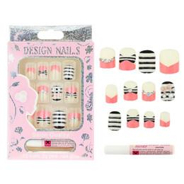 Wholesale Nail Glue 2g - Wholesale- 12 Pcs Box Fake Nails With 2g Glue 3D Cats Rhinestones Pearl 17 Design Press On Nails DIY Beauty Acrylic Nail Tips JH316-JH332