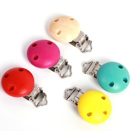 Wholesale Wooden Clip For Pacifier - Wholesale-1pc Safe Wooden Baby Pacifier Clip Holder Infant Children Cute Round Nipple Clasps For Baby Product LA872876