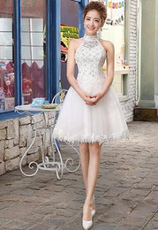 Wholesale White Korean Mini Wedding Dress - New explosion of Korean Short halter dress Princess short small skirt wedding dress summer romantic wedding dress