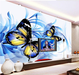 Wholesale Popular Wall Paintings - Popular Romantic Blue Butterfly TV Wall Decorative Painting mural 3d wallpaper 3d wall papers for tv backdrop