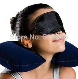 Wholesale Amenity Kits - Wholesale- hot sale blue grey 3pcs Travel Set Inflatable Neck Air Cushion Pillow eye mask  2 Ear Plug amenity kit
