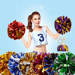 Wholesale Cheerleading Pompoms - 50g Cheerleading Pom Poms Cheering Hand Flowers Ball Pompom Christmas Wedding Party Festival Dance Props Metallic Cheer Leading