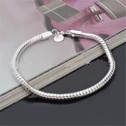 2019 collana di ambra nera il commercio all'ingrosso caldo 3MM 925 ha placcato il braccialetto delle catene del serpente placcato misura i branelli europei per il regalo della moglie del fidanzato del fidanzato