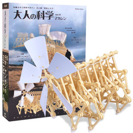 Wholesale Robot Building Kits - Yellow Wind Powered Plastic Robot Toy DIY Walking Walker Strandbeest Assembly Model Building Kits Kids Gift