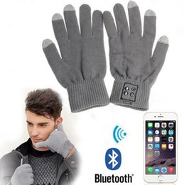 Wholesale Stereos Touch Screen - 2 Colors Smart Bluetooth Glove Wireless Touch Screen Talking Magic Gloves Bluetooth Stereo Headphone With Mic 2pcs pair CCA7471 100pair