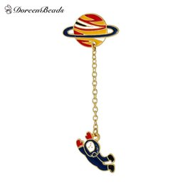Wholesale Spaceman Costume - Wholesale- DoreenBeads 2016 Vintage Designer Enamel Spaceman Planet Charm Costume Brooch Pins Jewelry Accessories for Women 6.3x2.5cm 1PC