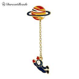 Wholesale Spaceman Costume - Wholesale- DoreenBeads 2016 Vintage Designer Enamel Spaceman Planet Charm Costume Brooch Pins Jewelry Accessories for Women 6.3x2.5cm 1PC