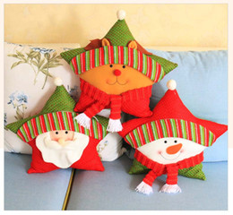 Wholesale Red Bolster Pillow - Christmas Bolster Santa Claus Snowman Deer Five - pointed Stars Pillow Car Bolsters Home Office Sofa Cushions Decoration Layout