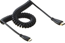 Wholesale Hd Cable Mini - Spiral Coiled 8FT Mini HDMI C male to HDMI A male adapter spring Cable 2.5m HD