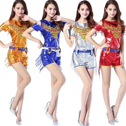Wholesale Dance Competition Outfits - Women Sequined Tassels Hip Hop Dancing Outfit Costumes Girls Stage wear Ballroom Party competitions dance Jazz Clothing suit