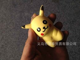 Wholesale Cell Phone Charms Doll - 6ct Simulation Pikachu Squishy Charms Toy Squishies Slow Rising Cartoon Toys PU Dolls Aroma Cell Phones Keys Pendant Kids Soft Dolls