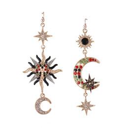 Wholesale Luxury Gifts Drop Ship - 2017 Fashion luxury Moon Rhinestone tassel Drop Earrings Vintage Boho Big Gem Sun Colorful Crystal Earrings for Women Jewelry Free Shipping