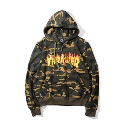 Wholesale Hoodie Tracksuits For Men - Camouflage New Men Women Army Green Fire Flame Hoodies Sweatshirts Hip Hop Fleece Hoodie Tracksuit For Autumn Winter
