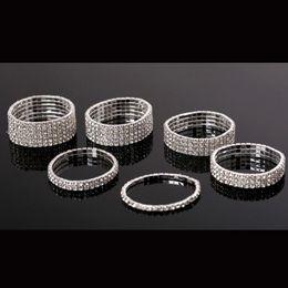Wholesale Stretchy Rhinestone Bracelets - New Arrival 1 row to 10 rows Rhinestone Elastic Bracelet Jewelry Wedding Stretchy Bridal Crystal Bangle Wristband