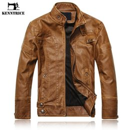 Wholesale Suede Jacket Fur Collar - Wholesale- Kenntrice Spring Autumn Brand Leather Jacket Men Slim Short Stand Collar Jaqueta Couro Bomber Jacket Faux Leather Fur Coat Suede