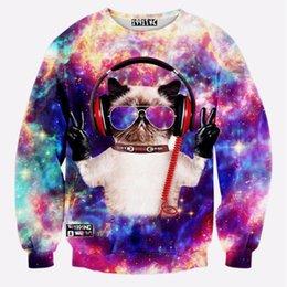 Wholesale Galaxy Cats Sweatshirts - Wholesale-Personality Funny Colorful Galaxy Cat 3D Print Men Unisex Sweatshirt Fashion Tracksuit Men'S Sportswear Casual Pullover