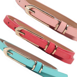 Wholesale Thin Brown Leather Belt - Female Metal Buckle Brand Leather Thin Belt Women Waistband Casual Style Belt