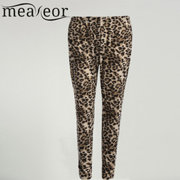 Wholesale Plus Size Leopard Leggings - Wholesale- Meaneor Women Leopard Plus Size Skinny Leggings High Waisted Stretch 2017 Casual XXXL 4XL 5XL Elastic Band Female Trousers