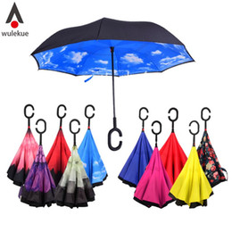 Wholesale Double Fabric Umbrellas - Free DHL Windproof Reverse Folding Double Layer Inverted Chuva Umbrella Self Stand Inside Out Rain Protection C-Hook Hands