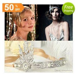 Wholesale Silicone Band Rhinestone Crystal - Hot Great Gatsby Vintage Headbands Hair Bands Headpieces Bridal Wedding Jewelries Accessories Silver Crystals Rhinestone Pearls