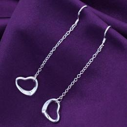 Venta caliente astilla plateada entrega cadena hueco amor corazón gota cuelga gancho pendientes para esposa novia regalo de cumpleaños desde fabricantes