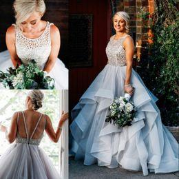 Wholesale Sleeveless Jewel Neckline Wedding Dresses - Stuuning Beaded Backless Bridal Gown Beading Jewel Neckline Sleeveless Bridal Dress Wedding Gowns 2017 Stylish Layered Organza Wedding Dress