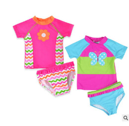 children bathing suits Promo Codes - Baby girls butterfly embroidery swimswear kids swimsuit children swim wear baby bathing Two Pieces suit for baby girls X