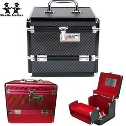 Wholesale Box Brother - Wholesale- wenjie brother Professional Aluminium alloy Make up Box Makeup Case Beauty Case Cosmetic Bag Multi Tiers Lockable Jewelry Box
