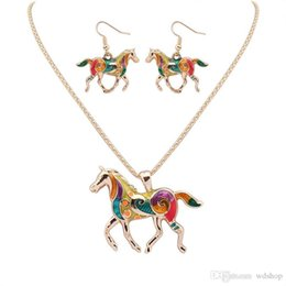 Wholesale Rainbow Silver Crystal Earrings - Newest Rainbow Horse Jewelry Set Silver Gold 20 Inch Necklace + 3*2.7 Earrings 2pcs Set Horse Earrings & Necklace For Women