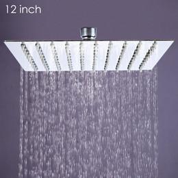 großhandel duschköpfe Rabatt Großhandel - 12 Zoll ultradünne quadratische Regendusche aus rostfreiem Stahl Ducha Chuveiro 31cm * 31cm Kopf Regendusche