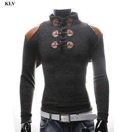Wholesale Long Sleeve Thermal Wholesale - Wholesale- Autumn Winter Fashion Men Warm Patchwork Sweater Male Thermal Horn Button Knitwear Boy Slim Fit Knit Outwear Tops Blouse Dec1