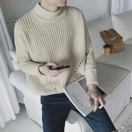 Wholesale Long Sleeve Turtleneck Sweater Dress - Wholesale- 2016 Mens Turtleneck Sweaters Solid green Men's Jumpers Knitted Pullover Male Dress Slim Fit Sweater For Men Plus XXL