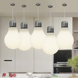 Wholesale big halls - Big Bulb Light Simple Pendent Lights Bulb Pendant Light Dia 15 25 30cm Pendent Lamp Gold Silver Milk White Color E27 Bulb Indoor