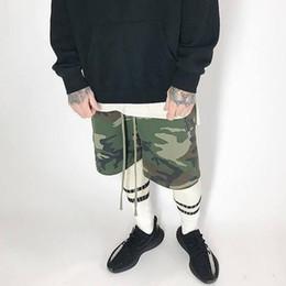 Wholesale Korean Sweats - new streetwear korean short army wear military camouflage basketball jogger slim fit casual fog justin bieber sweat mens shorts