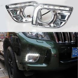 Wholesale Land Cruiser Led Drl - 12v CAR LED DRL Daytime Running Light with fog lamp hole for Toyota Prado FJ150 LC150 2010 2011 2012 2013 Land Cruiser 2700 4000