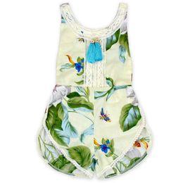 Wholesale Festival Chic - Floral Baby Girls Romper Festival Tassel Girls Clothing Boho Chic Summer Todler Outfit Pom Girls Playsuit