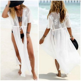 Wholesale White Lace Cardigan Dress - 2017 Summer bikini beach cover ups Women Sexy chiffon lace sunscreen long cardigan holiday seaside crochet blouses dress beachwear swimwear