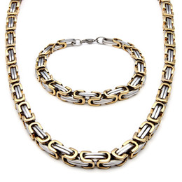 Wholesale Byzantine Steel Chain - Men's Stainless Steel Fashion Style Necklace And Bracelet Link Byzantine Box Chain Set Two-tone Color NB660