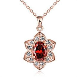 Wholesale Indian K - Romantic Style Rose Gold Color Fashion K Gold Flower Style Diamond Necklace Christmas Promotion Global Free Shipping AKN076