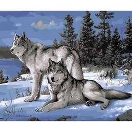 Wholesale Art Work Wholesalers - Wolf Diy Oil Painting Animals Wall Decor Picture For Living Room Coloring Paint Acrylic Pictures Art Work