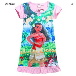 Wholesale Short Dresses For Teenagers - Moana Dress For Baby Girl Costume Summer Children Short Sleeve Beach Cartoon Print Dresses Easter Teenagers Kid Clothes 10 Year