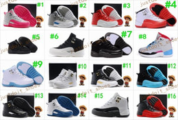 Wholesale Canvas Girls Gym Shoes - Boys Girls Retro 12 Kids Basketball Shoes Childrens 12s Gym Red 12s Barons Wolf Grey French Blue Sports Shoes Toddlers Birthday Gift