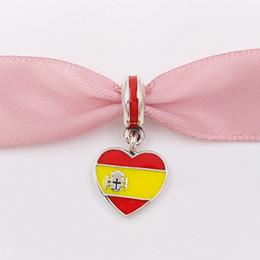 Gioielli spagna online-Perline d'argento 925 Spagna cuore bandiera pendente fascino adatto europeo Pandora gioielli stile bracciali collana per monili che fanno 791550ENMX